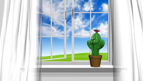 Home interior and open window with blue summer sky and a happy cactus man stock video