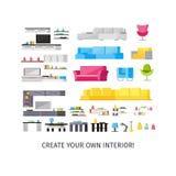 Home Interior Orthogonal Elements Set stock illustration