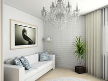 Home interior with portrait. Modern home interior with the fashionable picture stock illustration