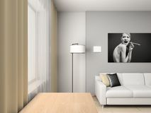 Home interior with portrait. Modern home interior with the fashionable picture royalty free stock photography