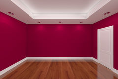 Home interior rendering with empty room color wall Royalty Free Stock Photography