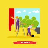 Home interior and room repair vector banner. Workers make renovation in apartment. People paint a wall in house Royalty Free Stock Photo