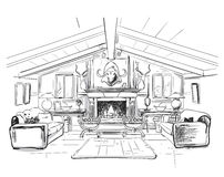 Home interior with sofa and fireplace Royalty Free Stock Photo