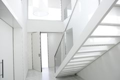 Home interior stair white architecture lobby. House decoration Stock Photography