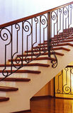 Home Interior Stairs. With metal hammered handrails Royalty Free Stock Photography