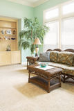 Home Interior. With a tropical beach look. wicker furniture bowls of seashells and a big exotic tree. Property and model releases included. Photo on shelf has Royalty Free Stock Photos