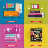 Home interior vector illustration in flat style. House design with furniture, bed, sofa, wardrobe. Stock Images