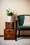 Home interior, vintage chair Stock Images
