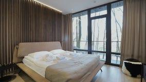 Home interior walk through bedroom.modern apartment.