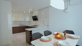 Home interior walk throught kitchen.modern apartment.