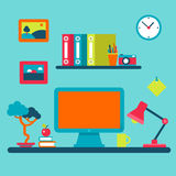 Home interior workplace and distant work flat vector concept Royalty Free Stock Photography