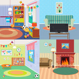 Home Interiors Set. Children Bedroom Interior. Living Room with Fireplace Royalty Free Stock Images