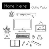 Home Internet . computer and modern workspace and equipment Royalty Free Stock Images