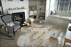 Home invasion , crime scene in a wrecked furnished home Stock Photos