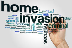 Home invasion word cloud. Concept on grey background royalty free stock photography