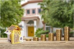 Home investment. Money price ownership rental deposit building Stock Images