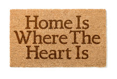 Free Home Is Where The Heart Is Welcome Mat On White Stock Image - 84013291