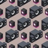 Home isometric sound system stereo acoustic 3d vector seamless pattern music loudspeakers player subwoofer equipment Stock Photos