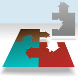 Home Jigsaw Puzzle Pieces House Solution. A jigsaw puzzle of a homes, each piece a house. Solve the real estate puzzle Royalty Free Stock Image