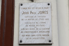 Home of John Paul Jones, Father of the American Navy who said 'I have not yet begun to fight' - home, Paris, France - shot August, Royalty Free Stock Photo
