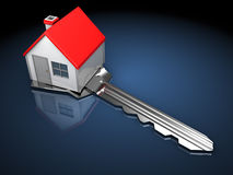 Home key. Abstract 3d illustration of key with house on it, over dark background vector illustration