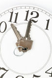 Home key. And clock, Real Estate Marketing Concept royalty free stock photo