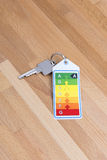 Home key with energy label on wood Royalty Free Stock Photos