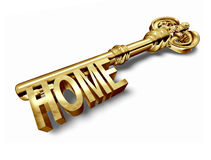 Home key gold isolated. Home key with gold color isolated on white background royalty free illustration