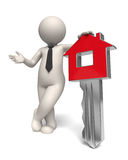 Home key - House - 3d business man. 3d rendered white business man presenting a red home key Stock Photos