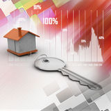 Home and key, house for rent concept Stock Images