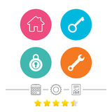Home key icon. Wrench service tool symbol. Locker sign. Main page web navigation. Calendar, cogwheel and report linear icons. Star vote ranking. Vector Royalty Free Stock Image