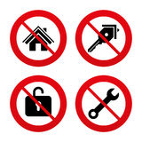 Home key icon. Wrench service tool symbol Stock Photos