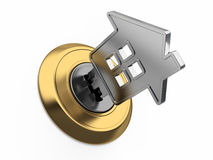 Free Home Key In Keyhole Stock Photo - 40242240