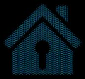 Home Keyhole Collage Icon of Halftone Circles. Halftone Home keyhole composition icon of circle bubbles in blue color tones on a black background. Vector circle Royalty Free Stock Photography