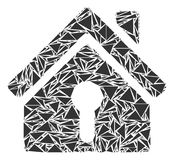 Home Keyhole Collage of Triangles. Home keyhole mosaic of triangle elements in variable sizes and shapes. Vector polygons are combined into home keyhole Stock Image