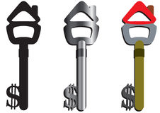 Home keys. The three keys open the home by money royalty free illustration
