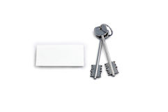 Home keys and white square. As symbol of success stock photography