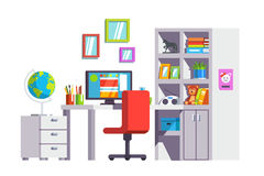 Home kid girl room with desk, pc and book case. Modern home kid girl room interior design with desk, chair, pc and full book case or cupboard. Office decoration Royalty Free Stock Photo