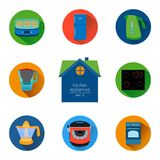 Home kitchen appliances and electronics icon set. Flat style icons collection. Royalty Free Stock Photography
