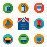 Home kitchen appliances and electronics icon set. Flat style icons collection. Royalty Free Stock Image