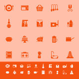 Home kitchen color icons on orange background Stock Images