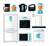Home kitchen cooking appliances vector flat icons set Royalty Free Stock Photo
