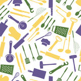 Home kitchen cooking utensils color pattern Royalty Free Stock Images