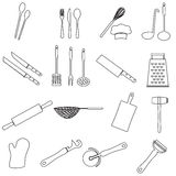Home kitchen cooking utensils outline icon eps10 Stock Images