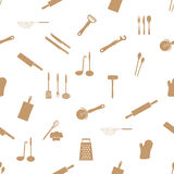 Home kitchen cooking utensils seamless pattern Stock Images