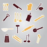 Home kitchen cooking utensils stickers Stock Photography