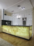 Home kitchen. Design, lighting and elements Royalty Free Stock Photo