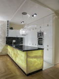 Home kitchen. Design, lighting and elements Royalty Free Stock Photos