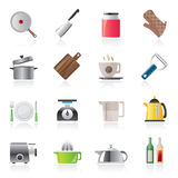 Home kitchen equipment icons Stock Images