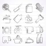 Home kitchen equipment icons Royalty Free Stock Photography